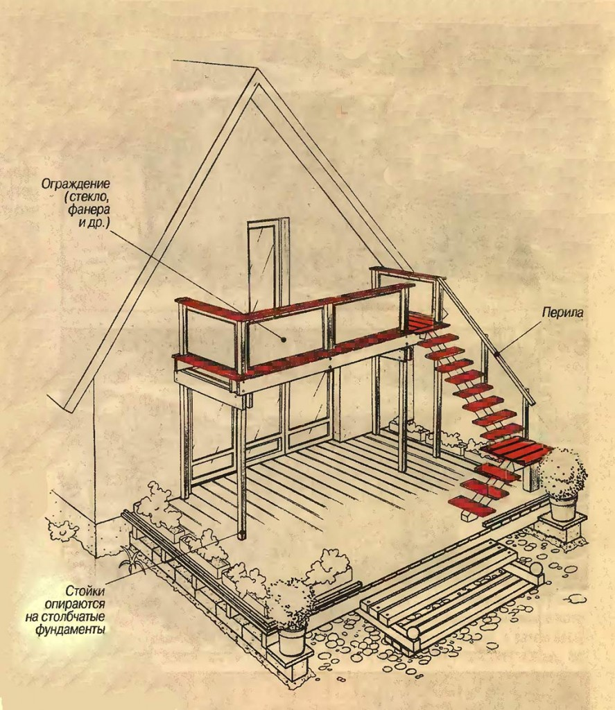 Балкон с наружной лестницей и террасой
