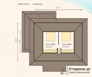 Чертеж мансарды от дома 161 метр