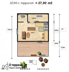 Проект 1 этажного дома 27,90