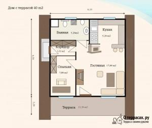1 этажный коттедж с террасой