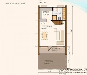 Цокольный этаж проекта дома 65 метров