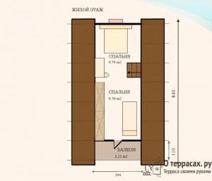Проект дома - второй этаж с балконом