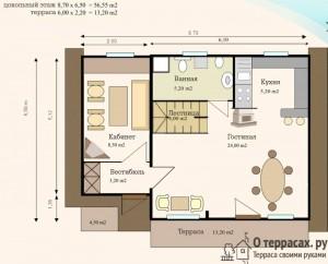 Чертеж дома площадью 96 метров с террасой