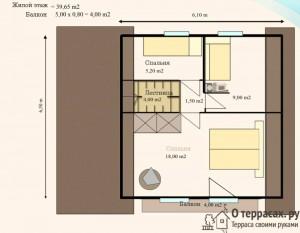 Чертеж дома с террасой второй этаж