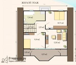 Чертеж 2 этажа дома площадью 1212