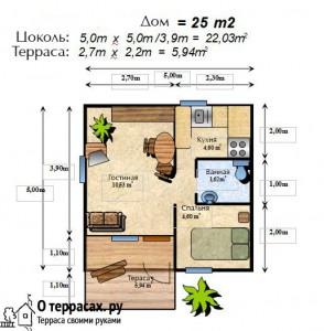 Проект 1 этажного коттеджа 25 метров с террасой