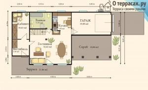 проект двухэтажного дома с террасой и гаражом