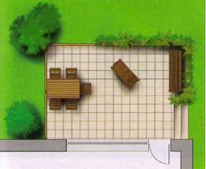 выход к саду в углу террасы