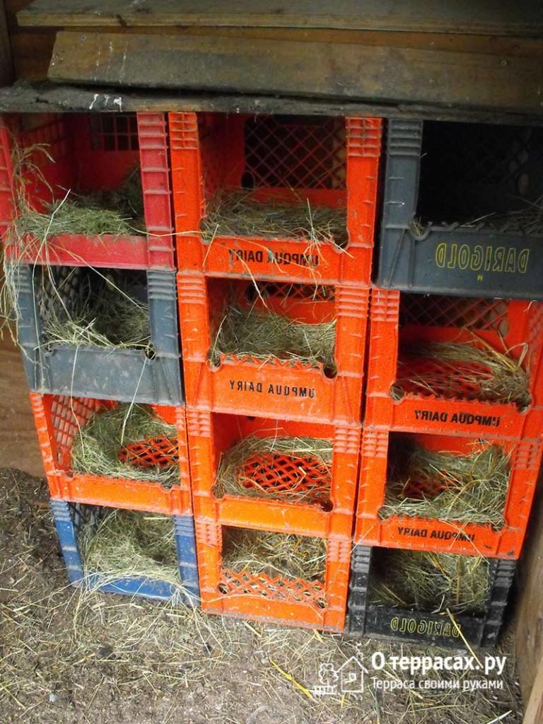 гнездовье из молочных ящиков
